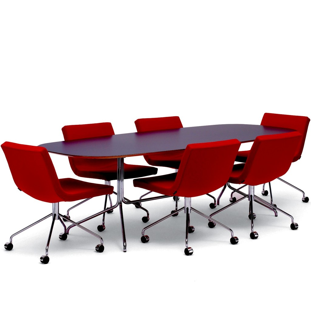Various Awesome Conference Table Design: Cool Simple Modern Black Top With Metal Legs Conference Table Design With Red Swivel Meeting Chairs