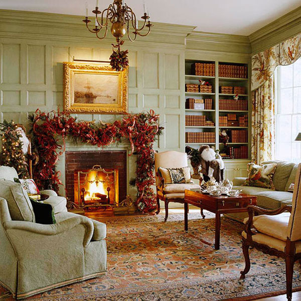 Beautiful Living Rooms Christmas Decoration Ideas: Cool Simply Christmas Living Room Decoration Ideas With Fireplace Beside Built In Bookshelves And Furniture On Floral Area Rug And Wall Decor