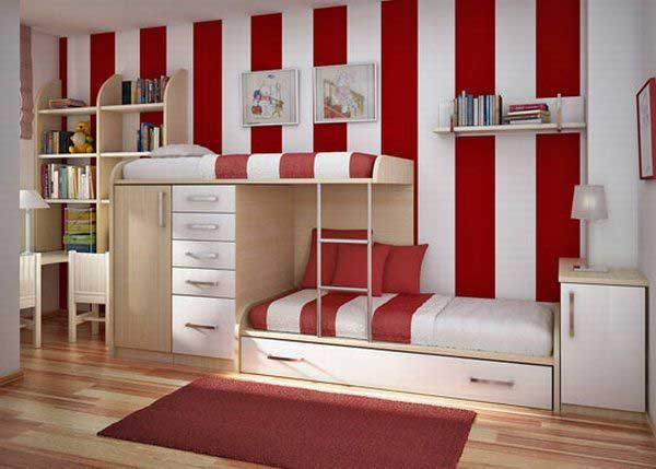 Space Saving Ideas: Various Bunk Beds Design Ideas: Cool Sleek Modern Teen Bedroom Interior Design With Red White Stripe Wallpaper Integrated Bunk Beds With Closet And Bookshelves And Wooden Flooring
