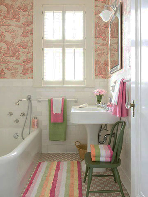 Small Bathroom Design Ideas: Cool Small Bathroom Design Bath Tube Sink Hanger Towel Chairs Window Tile Wall Tile Flooring Floor Mat Wallpaper Ideas1