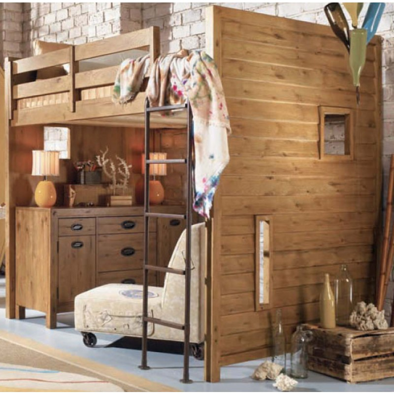 Furniture Ideas For Small Bedroom Design : Cool Small Brick Wall Bedroom Design With Casual Wooden Loft Beds And Ladder Ideas With Natural Wooden Cabinet And On Wheel Sofa