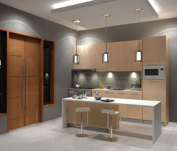 Modern Kitchen Design: Cool Small Modern Maple Kitchen Design 2 Cabinets Kitchen Island Chairs Pendant Lamps Door Tile Floors Lighting Ideas By Dutdee