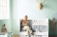 Cozy And Cheerful Modern Nursery Room Design : Cool Soft Blue French Baby Nursery Room Design With Integrated Baby Bath Box With Seats And Hidden Extra Bed Design Ideas