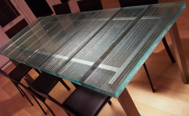 Inner Glow ThinkGlass Versatile Countertop Design: Cool Solid And Functional Thick Slabs Lino Random Crystal Raw Glass Table Top Design Ideas With Chairs Wooden Flooring ~ stevenwardhair.com Cabinets Inspiration