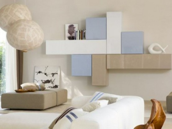 Simple But Smart Living Room Storage Ideas: Cool Storage Decoration To Save The Space With Square Smart Hanging Bookcase And Open Shelves With Wall Interior And Different Material Sideboards And Baskets