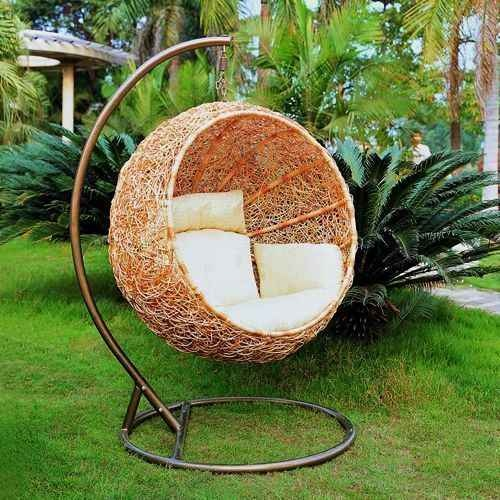 Unbelievably Relaxing Piece Of Furniture Hanging Chair: Cool Stunning Outdoor Hanging Chair Circle Shaped Made Of Close Knitted Rattan Mesh With Soft Plain White Cushion