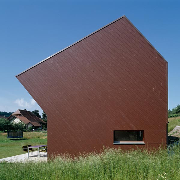 CROOKED HOUSE: Self Sustainable House In Swiss Countryside: Cool Sustainable Croocked House Exterior Design That Made From Painted Plaks Of Pine Ideas ~ stevenwardhair.com Exterior Design Inspiration