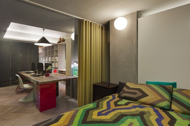 Exquisite Taipei Studio, Office Space By Day Cozy Home By Night: Cool Taipei Apartment Bedroom Design With Floor To Ceiling Sliding Glass Door And Curtain Wall Lamp Beside Studio Area With Herringbone Wooden Flooring Ideas ~ stevenwardhair.com Apartments Inspiration