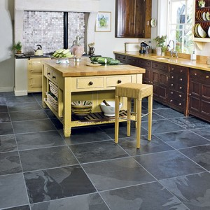 Kitchen Tile Flooring Designs Ideas: Cool Tile Kitchen Flooring Design With Wooden Countertop Kitchen Island Cabinetry Ideas