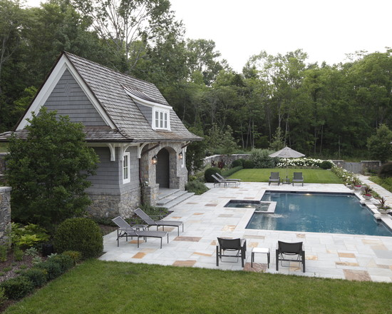 Buying A House With A Pool : Cool Traditional Landscape With House Pool Chairs Umbrella Lawn Surrounded By Tree Ideas