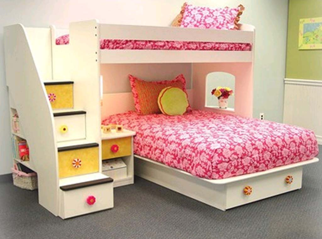 Cozy And Fun Tween Girl Bedroom Interior Ideas : Cool Tween Bedrooms Design Ideas With White Wooden Bunk Bed Bedside Table With Hidden Storages In Stairs And Under Bed With Grey Carpet Ideas
