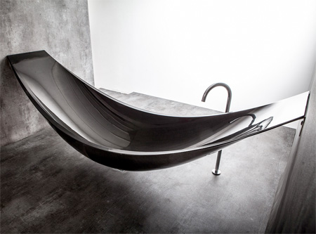 Hammock Bathtub: Another Amenities for Relaxing Bathroom Design: Cool Vessel Bathtub Design For Another Relaxing Ideas