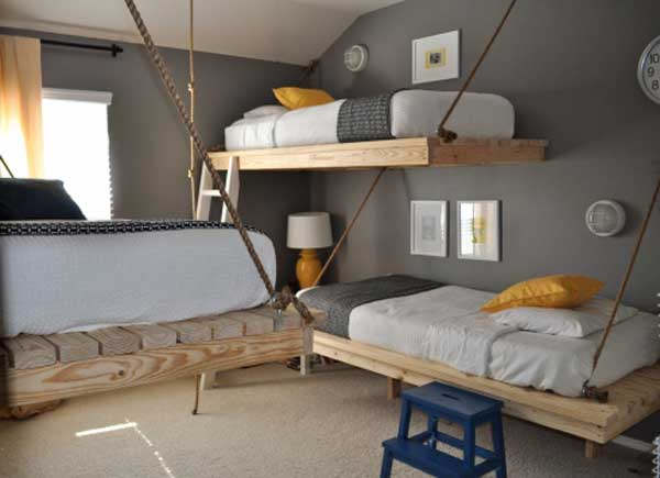 Space Saving Ideas: Various Bunk Beds Design Ideas: Cool Wall Suspended Adult Wooden Bunk Beds With Rope Ideas