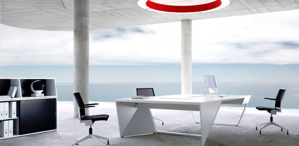Various Awesome Conference Table Design : Cool White Black Red Theme Modern Office Workspace With Contemporary White Conference Table And Inspiring Open Sea Theme Wallpaper