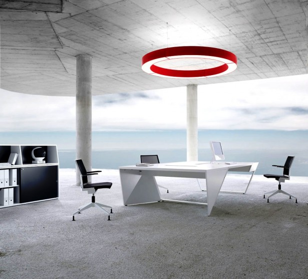 Various Awesome Conference Table Design: Cool White Black Red Theme Modern Office Workspace With Contemporary White Conference Table And Inspiring Open Sea Theme Wallpaper ~ stevenwardhair.com Furniture Inspiration