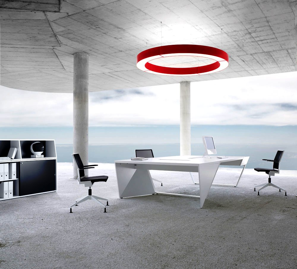 Furniture Cool White Black Red Theme Modern Office Workspace With - Red conference table