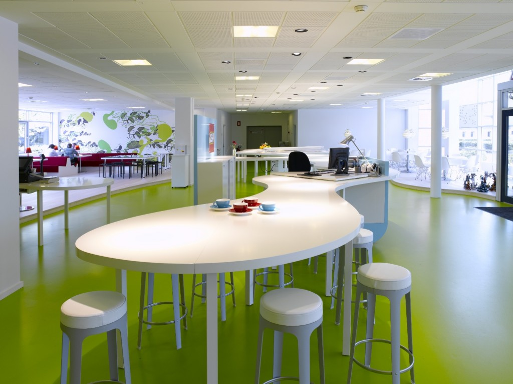 Various Awesome Conference Table Design : Cool White Open Space Unique Shape Modern Conference Table Design On Light Green Flooring