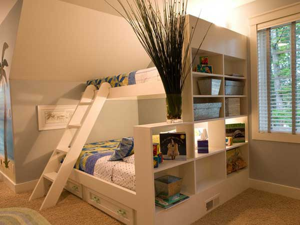 Space Saving Ideas: Various Bunk Beds Design Ideas : Cool White Teen Bunk Bed Integrated With Bookshelves Design