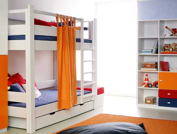 Space Saving Ideas: Various Bunk Beds Design Ideas : Cool White Teen Bunk Beds Design With Orange Curtain And White Bookshelves And Orange Area Rug In Cozy Modern Teen Bedroom