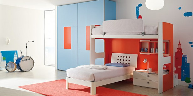 Decorating Ideas: Cool Room For Teenagers: Cool Wooden Floor Teenagers Musician Bedroom Interior Design With Light Blue Closet And Orange White Bunkbed With Wallpaper And Orange Area Rug ~ stevenwardhair.com Bed Ideas Inspiration