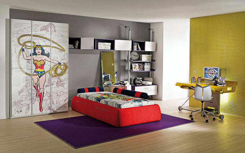 Decorating Ideas: Cool Room For Teenagers : Cool Wooden Flooring Teenagers Girl Bedroom Decoration With Wonder Woman Closet Decal With Cool Desk And Chair In Front Gold Pattern Wallpaper With Cool Bookshelves And Bed On Purple Area Rug