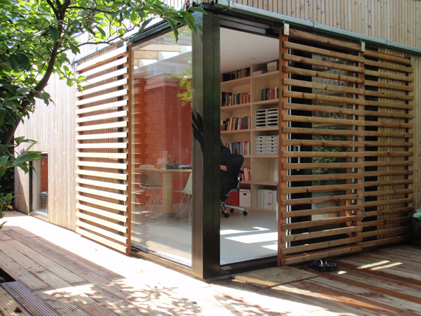 Home Office Inspiring Ideas : Office In Contemporary Garden Pavilion : Cool  Wooden Glass Garden Pavilion