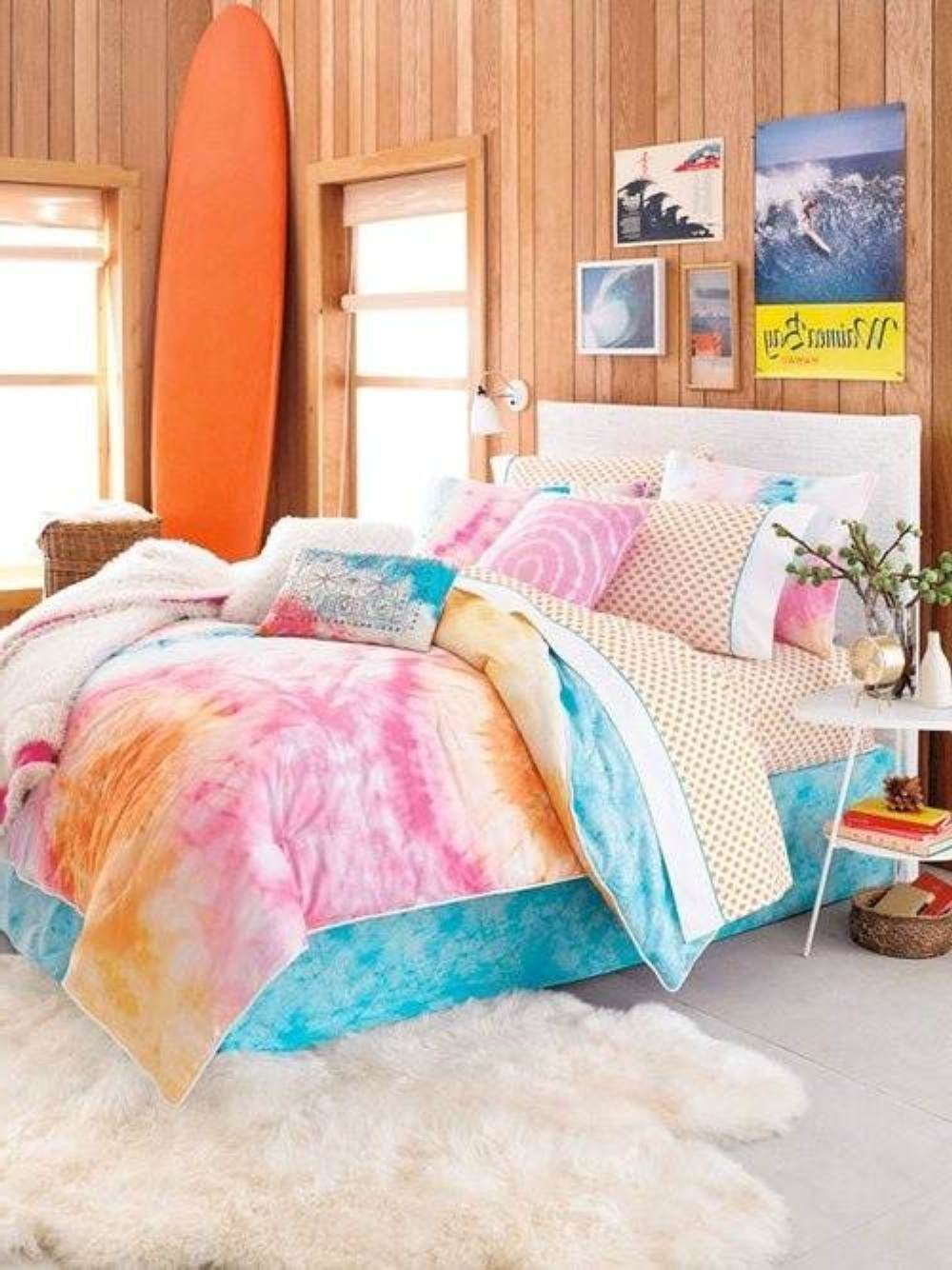 Decorating Ideas: Cool Room For Teenagers : Cool Wooden Wall Teenagers Bedrooms Design With Colorful Bed Accessories On White Rug And Simply White Bedside Table With Orange Surfboard And Wall Decor