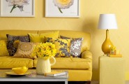 Color Psichology In Interior Design : Cool Yellow Color Living Room Leather Sofa Cushions Living Table Unique Standing Lamp Yellow Tile Wall