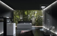 Luxurious Bathroom Designs For Apartments Ideas : Coolest Open Shower Luxury Apartment Bathroom Design With Wall Decal And Glass Wall Idea With Armchair Washbasin Wall Shelf Mattres Tile Flooring And Lightings Ideas
