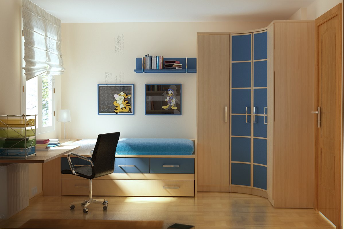 Room color ideas for teenage girls : Corner Cabinet Wooden Floor Desk Daybed Drawers Clean Simple Airy Teen Room