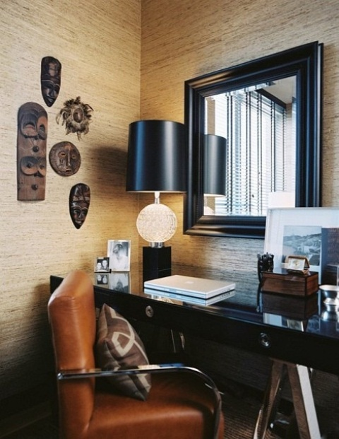 Italian Stylish Home Office Design Ideas: Corner Tiny Italian Design Home Office Stylish And Dramatic Office Decoration With Balck Marble Offices Desk With Standing Lamp Work Station With White Woon Plank And Black Mirror