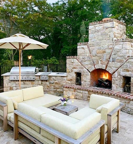 Inspiring Display Of Completed Outdoor Kitchens: Cotemporary Charming Completed Outdoor Kitchens Design Ideas Create A Romantic Feel With Inspiring Stones Fireplace Canopy And Full Size Sofa With Tea Table ~ stevenwardhair.com Architecture Inspiration