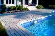 Combination Materials And Layouts To Design Pool Deck : Cotemporary Combination Of Many Factors Pool Desk Design Including Materials And Layouts With Backyard And Outdoor Furniture