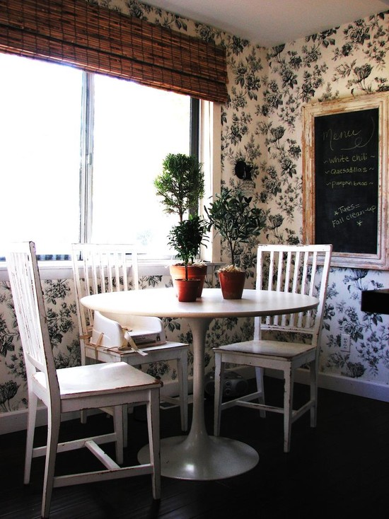 Wonderful Cheap Flower Centerpiece Ideas: Cottage Styled Home Eclectic Kitchen With A Pair Of Topiaries In Terracotta Pots Create A Welcoming Centerpiece In A Breakfast Nook White Floral Wallpaper Traditional Chairs And A Vintage Chalkboard