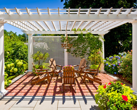 Wonderful Lattice Screen Designs : Cottage Traditional Patio Purgola  Structure Lattice Work Privacy Screen Wood Chairs
