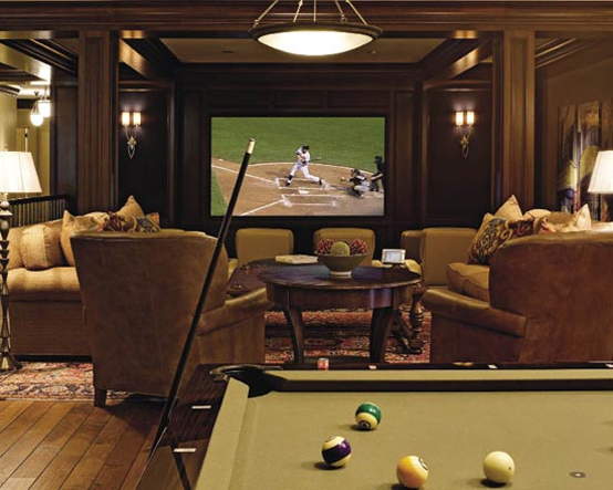Home theatre design ideas: Country Old Fashioned Room Model Home Theater Designs With Large Living Room Sofa With Wooden Coffee Table Using Wood Floor Old Pendant Lamp Pool Table