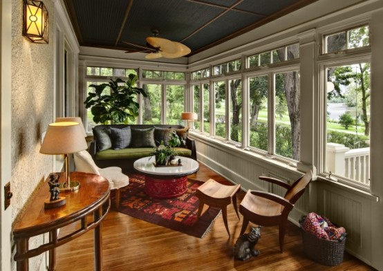 Breathtaking Furniture Room Layout And Accent Pieces Sunroom Design Ideas: Covered Porch With Lake Views That Show Natural Energies With Perfect Furniture Room Layout And Accent Pieces And Bringing In Beautiful Natural Light ~ stevenwardhair.com Architecture Inspiration