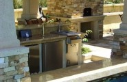 Coziest Space For Outdoor Kitchen Designs Near The House : Coziest Space For Outdoor Kitchen Designs Ideas By The Pool With Astonishing Pantry And Bar Table Near The Pool
