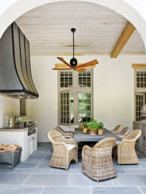 Coziest Space For Outdoor Kitchen Designs Near The House: Coziest Space For Outdoor Kitchen Designs Ideas With Outside Living Space Metal Top Pantry Tiles Floor Wood Board Ceiling