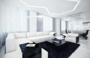 Futuristic Black And White Stylish Apartment Design : Cozy Amazing Apartment Room Style Big White Leather Sofa With Black Fur Rugs And Amazing Lamp Ceiling Decoration Bright Lighting Design
