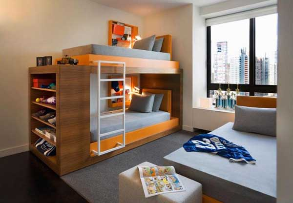 Space Saving Ideas: Various Bunk Beds Design Ideas : Cozy Apartmen Teen Bedroom Design With Cool Wooden Orange Teen Bunk Beds And Gray Area Rug