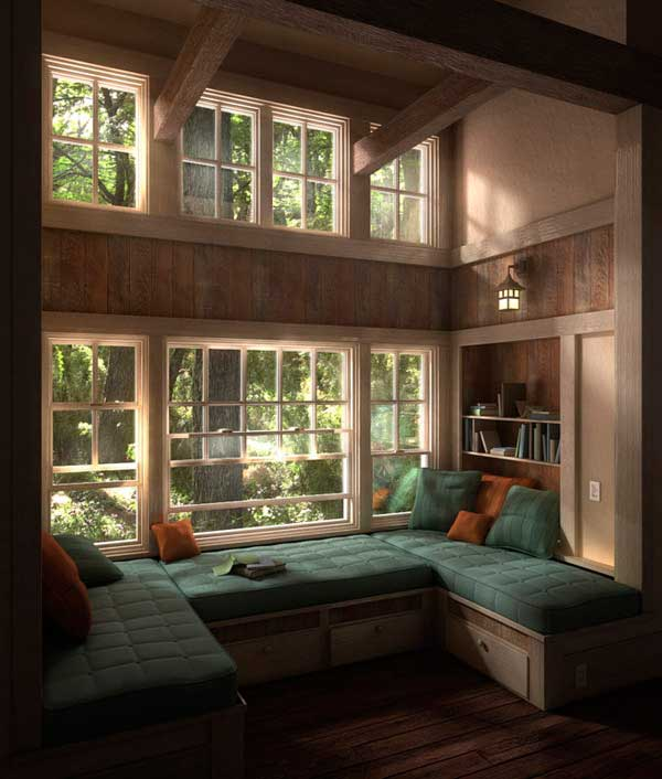 Ideas For Window Seats : Cozy Backyard View Room Window Seats Design With Cushions Bottom Chest Of Drawer Bookshelf Expose Wooden Beams Lamps Wooden Flooring Ideas