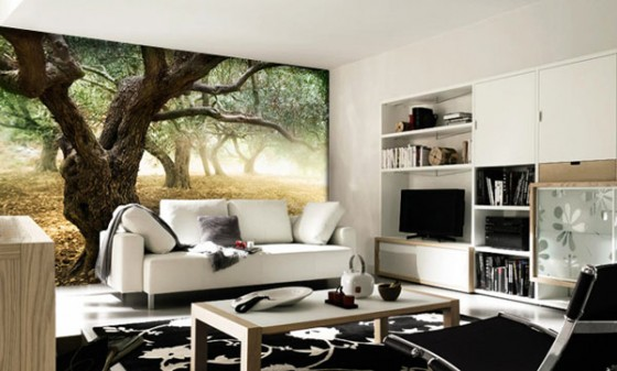 Wall Decal For Interior Decoration Ideas : Cozy Black And White Theme Living Room Design With Cool Old Forest Trees Wall Decal Ideas