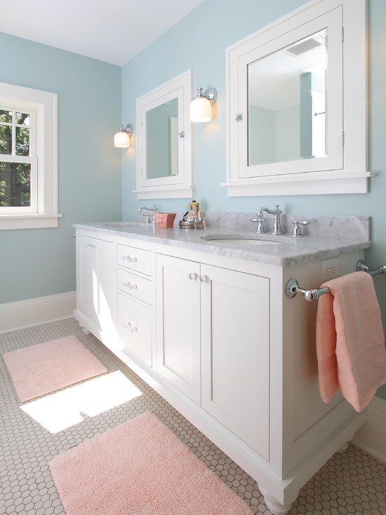 inexpensive bathroom remodel examples for home cozy blue nuance craftsman bathroom white chest of drawer - Bathroom Remodel Mirrors