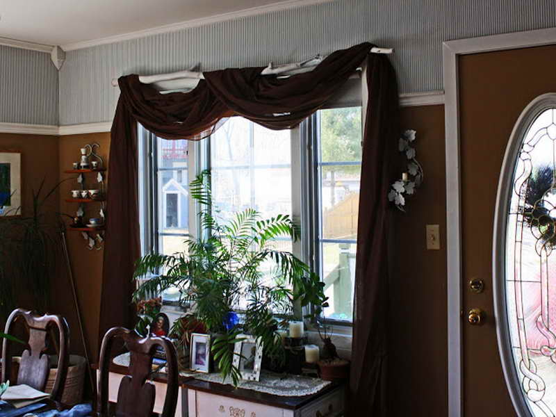 Window Treatment Ideas: DIY Unique Branch Curtain Rod Decoration: Cozy Brown Grey Color Dining Room Decoration With DIY White Branch Curtain Rod With Brown Curtain Design Ideas