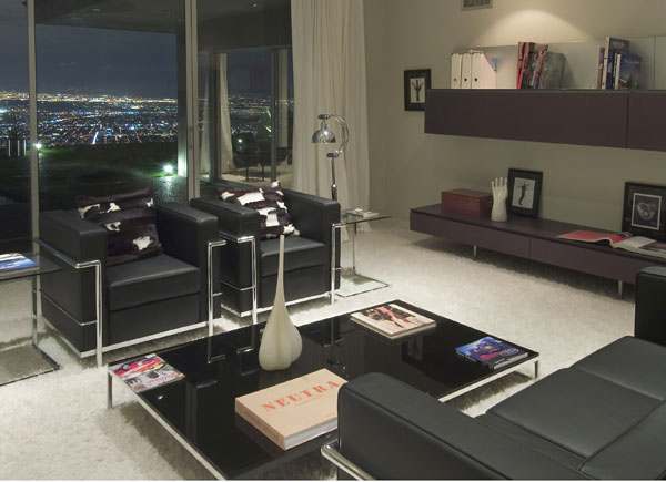 Celebrity Houses In LA, Byron Allen Home : Cozy Celebrity House In LA Byron Allen Home Living Room Interior Design Sofa Shelves Window City View Marble Flooring Ideas
