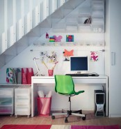 Cool Teenage Girls Bedroom Ideas: Cozy Den Under The Stairs With White A Small Table And Simple Swivel Chairs And White Wall With Accessories And A Small Table For Books And Files Also Parket Wood Floor ~ stevenwardhair.com Bedroom Design Inspiration