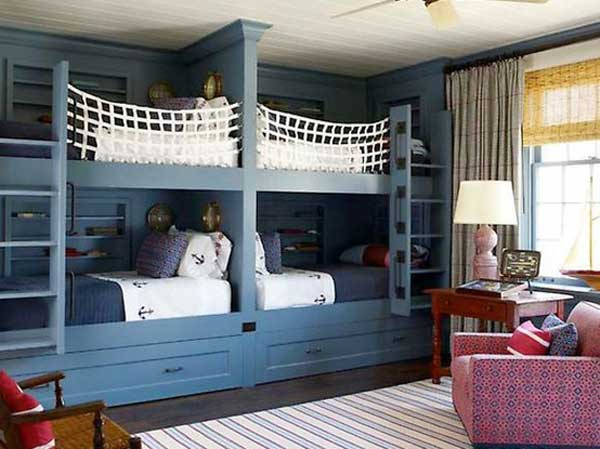 Space Saving Ideas: Various Bunk Beds Design Ideas : Cozy Dorn Bedroom Design With Cool White Fabric Bed Rails Blue Painted Wooden Bunk Beds And Pink Floral Armchair On Soft Color Stripe Pattern Area Rug