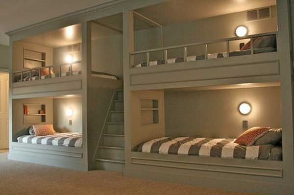 Space Saving Ideas: Various Bunk Beds Design Ideas : Cozy Gray Dorm Bedroom Design With Bunk Beds And White Gray Stripe Bedcover Ideas