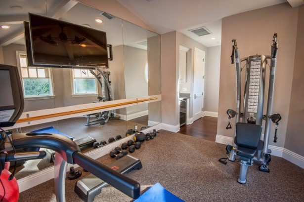 Atonishing In House Gym Space Design For Urban Living: Cozy Home Gym Designs With Portable Fitness Equipment Training Equipments Elliptical Treadmill With Special Tools Cabinet ~ stevenwardhair.com Bookshelves Inspiration